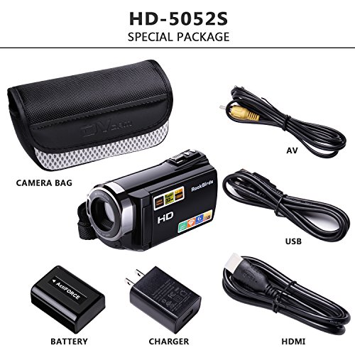 Camcorders, RockBirds HDV-5052STR Digital Video Camera HDMI 1920x1080p Portable FHD WIFI Camera, Night Vision 30FTPS Video Camcorder with Touchscreen, 16X Digital Zoom(Black)