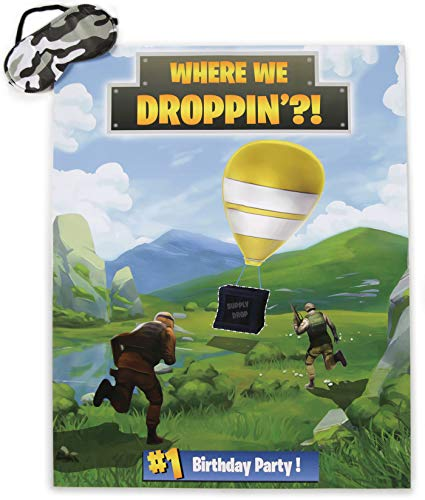 Buy Pin the Supply Drop Party Game | Party Supplies for Battle Royale Theme Video Game Birthday Pa...