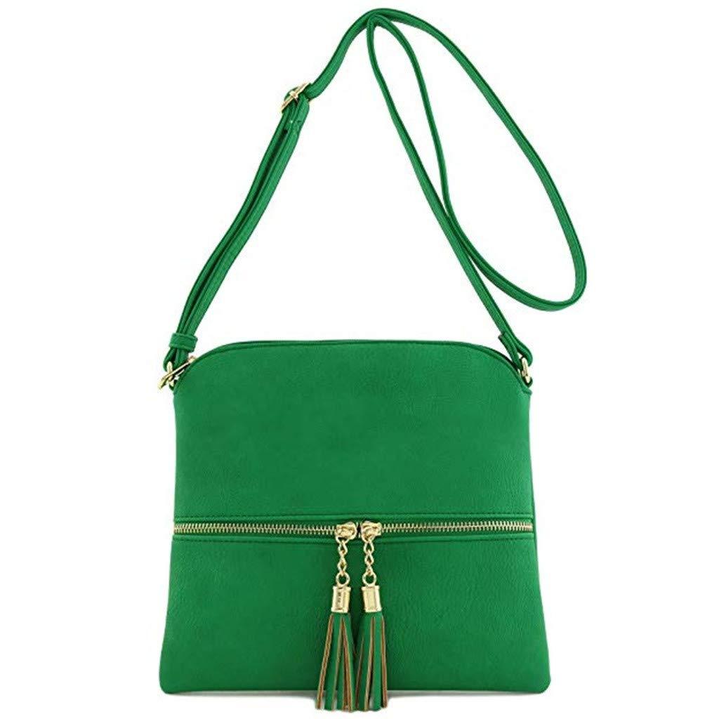 ❤️ Sunbona Shoulder Bags For Women Leather Tassel Crossbody Bag Pure Color Shoulder Bags Messenger Bag Navy