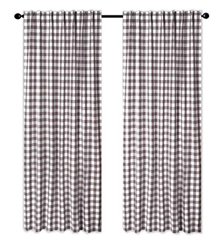 Cotton Clinic Gingham Buffalo Check Window Curtains 2 Panels 50×96, Curtains for Living Room, Curtains for Bedroom, Curtains 96 Inch Length, 2 Pack Set Cotton Tab Top Curtains Charcoal Grey White