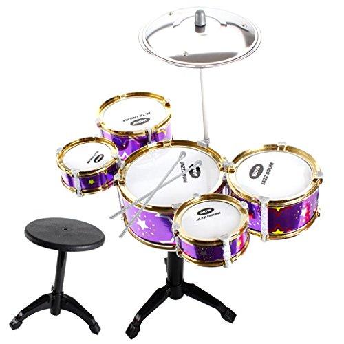 Baoblaze Mini Jazz Band Drum Kits Percussion Instruments Set Children Educational Musical Toy - 5 Drums + Stool Purple