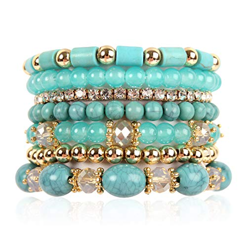 (RIAH FASHION Multi Layer Bead Bracelet - Colorful Stacking Beaded Strand Stretch Cuff Statement Bangles Set (Turquoise))