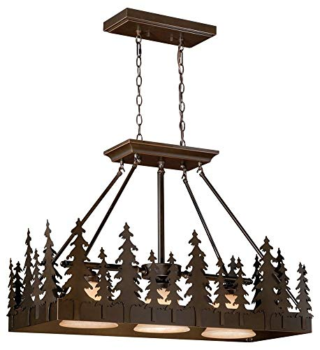 Vaxcel Lighting PD55536BBZ Yosemite - Three Light Pendant, Burnished Bronze Finish with Amber Flake ()