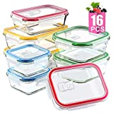 Mealcon Meal Prep Lids Lunch Glass Food Storage Containers,16 Pieces