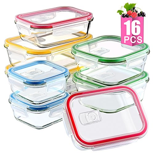 [16 Pieces]Glass Meal Prep Containers Airtight Lids-BPA Free, Assorted Size, Glass Food Storage Containers, Glass Lunch Containers ()