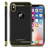 iPhone X Case, Slim Grip Luxury Shockproof Bumper Hard Matte Back Design Anti-scratch Anti-slip Fingerprint Thin Fit Protective Cute Cover for Apple iPhone X - Black/Gold