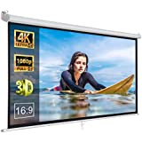 "ZENY 100"" Projector Screen 16:9 HD Projection Manual Pull Down Portable Foldaway Movie Home Theater Projector Movies Outdoor Screen (100,16:9)"