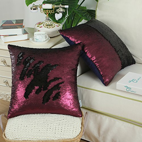Pack of 2 CaliTime Throw Pillow Covers Cases for Couch Sofa Home Decor, Reversible Sequins Mermaid Magic Color Change, 20 X 20 Inches, Burgundy / Black