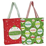 """DII Cotton Christmas Holiday Candy Tote Gift Bag, 15x16x4"""" Set of 2-Ornaments"""