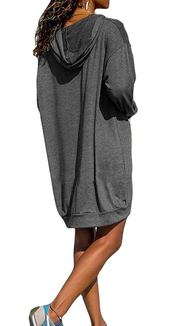Cromoncent Womens Casual Loose Long Sleeve Hooded Pullover Sweatshirt Dress