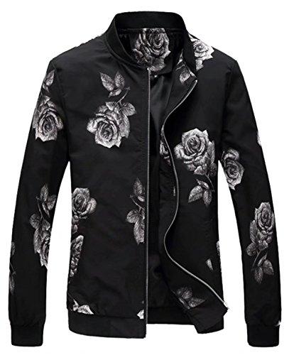 EMAOR Mens Men's Casual Flower Varsity Baseball Bomber Jacket Lightweight Floral Coat