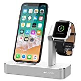 iVAPO Apple Watch Series 3 Stand 2 in 1 Aluminum Apple Watch Dock iPhone Station for Apple Watch Series 3/2/1/Nike+ and iPhone X/8/8 Plus/7/7Plus/6s/6s Plus/5 LightSilver