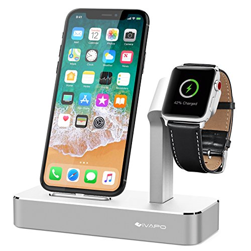 iVAPO Apple Watch Series 3 Stand 2 in 1 Aluminum Apple Watch Dock iPhone Station for Apple Watch Series 3/2/1/Nike+ and iPhone X/8/8 Plus/7/7Plus/6s/6s Plus/5 LightSilver by iVAPO