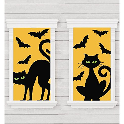 Amscan Cats & Bats Window Silhouette Halloween Trick or Treat Decoration, Plastic, 65'' X 33'', Pack of 2 Decoration