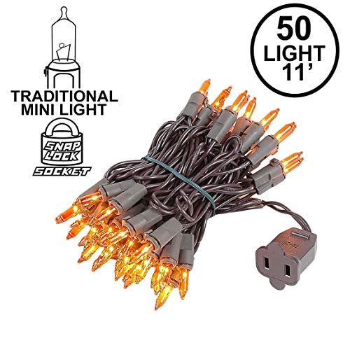 Novelty Lights 50 Light Amber Christmas Mini String Light Set, Brown Wire, Indoor/Outdoor UL Listed, 11' Long (Amber Lights Christmas Colored Tree)