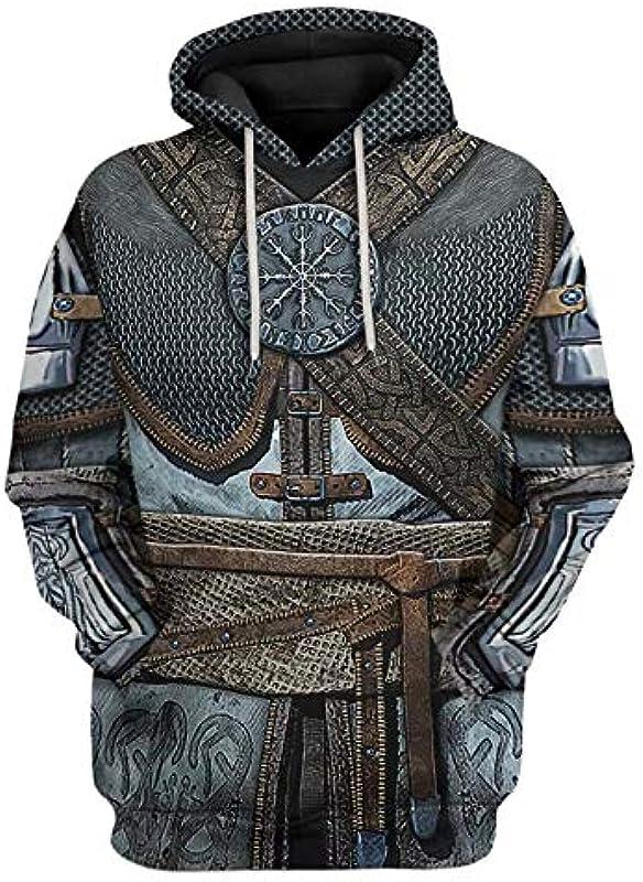 Hbche Męskiemode Viking 3D-Druck Cosplay lässige Pullover Pullover Pullover beiläufige mit Taschen Sweatshirts (Color : K, Size : XXXXX-Large): Küche & Haushalt