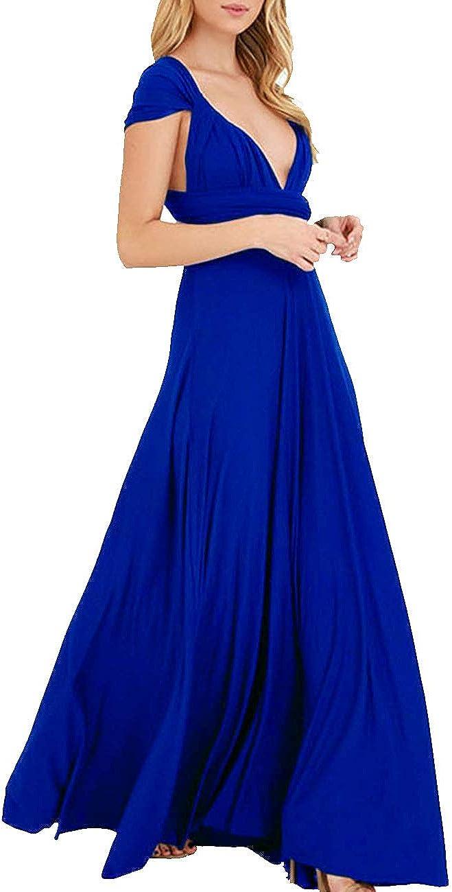 TALLA S. EMMA Mujeres Falda Larga de Cóctel Vestido de Noche Dama de Honor Elegante sin Respaldo Azul Zafiro S