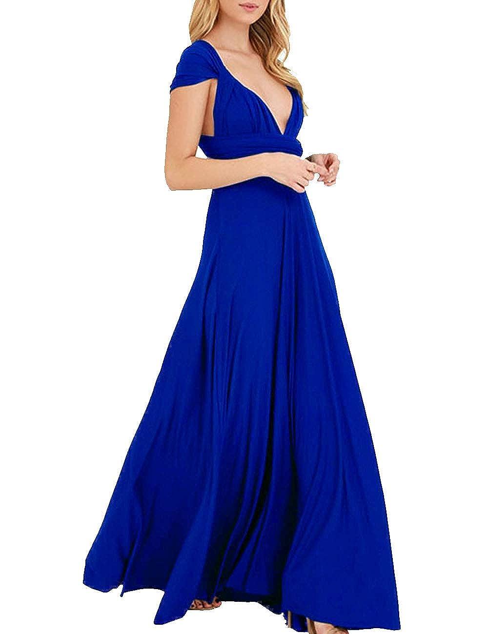 TALLA L. EMMA Mujeres Falda Larga de Cóctel Vestido de Noche Dama de Honor Elegante sin Respaldo Azul Zafiro