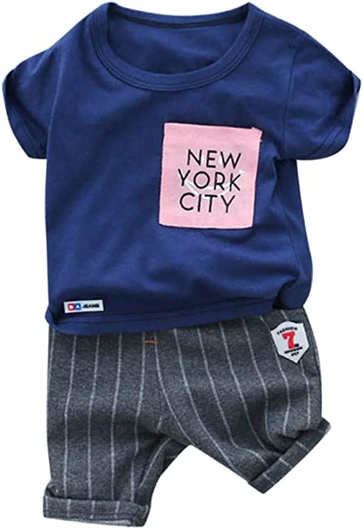 Toddler Kids Boy Outfit Clothes Clothing Infant Baby Boy Stripe Shirt Trousers
