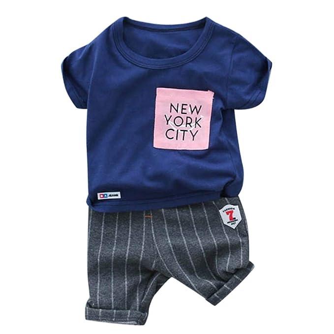 Conjuntos Ropa Bebe niño Verano Camiseta de niño bebé niños Letra Camisetas Pantalones Cortos de Rayas Conjunto de Trajes 12 Mes - 3 años