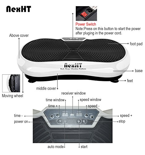 NexHT Fitness Body Shape Vibration Platform,Fit Massage Exercise Machine,Whole Body Workout Trainer with Remote Controller &Resistance Bands, Max User Weight 330lbs.(White 89007A) by NexHT (Image #2)