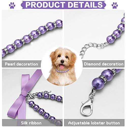 4 Pieces Pearls Dog Necklace Collar Jewelry with Bling Rhinestones Pet Wedding Collar for Pets Cats Small Dogs Costume Outfits, S