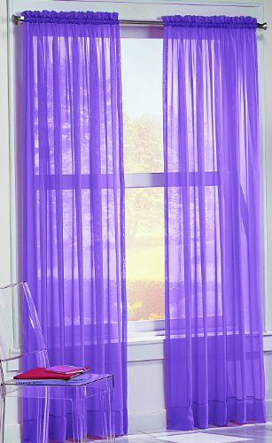 No. 918 Calypso Sheer Voile Rod Pocket Curtain Panel, 59″ x 63″, Purple