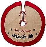 Rustic Burlap Christmas Tree Skirt - 36'' Country Xmas Tree Decor Skirts (Sleighs)