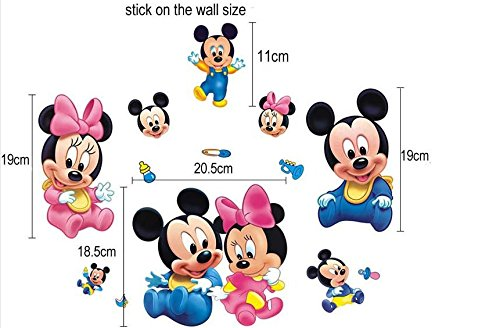 Wall Sticker Decal Mickey and Minnie Mouse Kids Room Decor Mural Nursery Daycare and Kindergarten DIY Self adhesive Removable 8x22 Inch Sunshine Homes