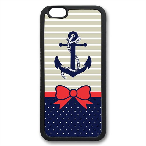 Coque silicone BUMPER souple IPHONE 6 Plus - Ancre marine anchor motif 2 DESIGN case + Film de protection OFFERT