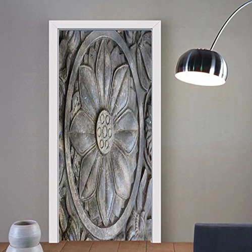Niasjnfu Chen custom made 3d door stickers Stone Carving Fabric Home Decor For Room Decor 30x79 by Niasjnfu Chen
