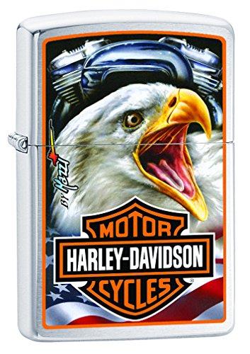 (Zippo Lighter - Harley Davidson Engine Mazzi Eagle Brushed Chrome)