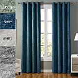 COFTY Lydia Collection Solid Blackout Polyester Chenille Velour Shaggy Curtain Drapes(1 Panel) - Anti Bronze Grommet - Navy - 84Wx84L Inch (1 Panel)
