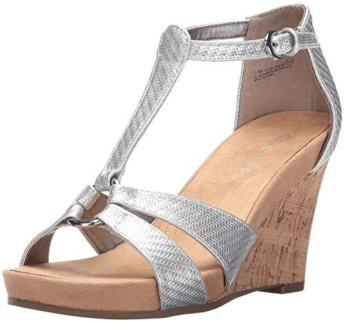 Aerosoles Women's Plush Ahead Wedge Sandal Silver 7.5 M US