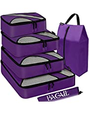 BAGAIL 4 Set Packing Cubes,Travel Luggage Packing Organizers with Laundry Bag