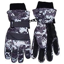 N'Ice Caps Boys Cold Weather Waterproof Camo Print Ski Gloves