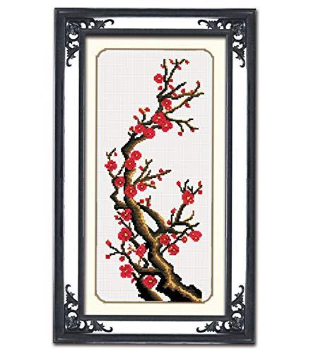 TINMI ATRS DIY Stamped Cross Stitch Kits Thread Needlework Embroidery Printed Pattern 11CT (Plum Blossom,10