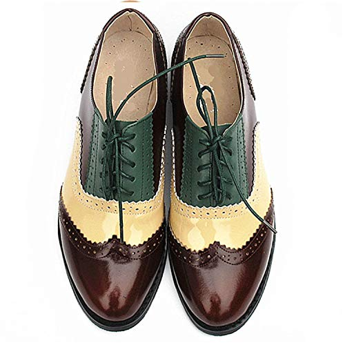Men Genuine Leather Brogues Oxford Flats Shoes for Mens Brown Handmade Vintage Casual Flat Shoes 2019,Brown Nude Green,6
