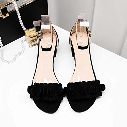 e1475c32f6114 Hemlock-Teen-Flowers-Sandals-Women-Flat-Sandals-Wedges-Sandals-Open-Toe- Shoes-Low-Heels-Sandals-US5-Black
