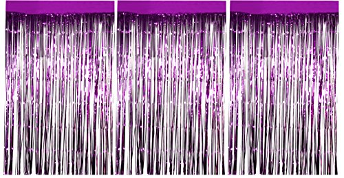 Foil Fringe Curtains - 3-Pack Metallic Purple Foil Curtain, Metallic Tinsel Foil Fringe Curtain for Wedding Photo Backdrop, Birthday Party, Halloween Decoration, Photo-Booth Background, 8 x 3 Feet