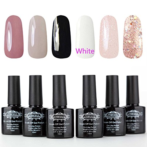 Perfct Summer UV LED Soak Off Gel Nail Polish - 6 Colors Nail Art Polish,10ml Each #07
