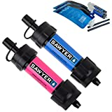 Sawyer Products SP2102 Mini Water Filtration SYSTEM, 2 Pack, Blue & pink
