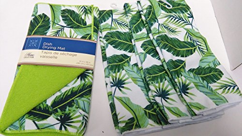 (gb Palm Leaf Microfiber Dish Towels with Matching Dish Drying Mat)