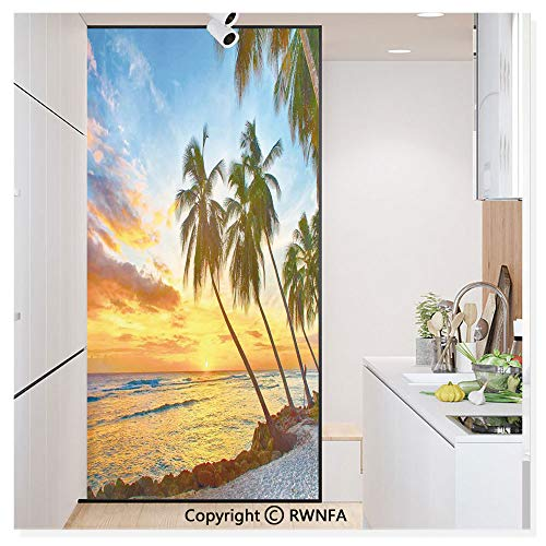 RWN Film Window Films Privacy Glass Sticker Fairy Sunset Over The Sea with The Palms on The Beach at a Caribbean Island in Barbados Horizon Static Decorative Heat Control Anti UV 30In by 59.8In,Multi