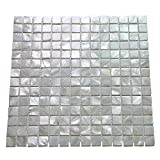 bathroom wall tile  10-Pack Oyster Mother of Pearl Square Shell Mosaic for Kitchen Backsplashes, Bathroom Walls, Spa Tile, Pool Tile