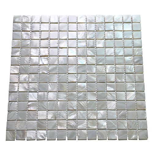 Art3d 10-Pack Oyster Mother of Pearl Square Shell Mosaic for Kitchen Backsplashes, Bathroom Walls, Spa Tile, Pool Tile (Pearl Pool Stick)