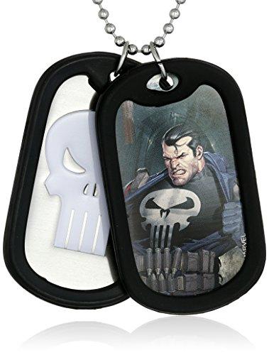 Marvel Comics Men's Stainless Steel Punisher Double Dog T...