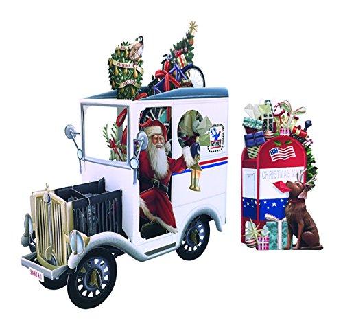 Paper D'Art X3D009 3D Pop Christmas Greeting Card, Santa's Mail Truck