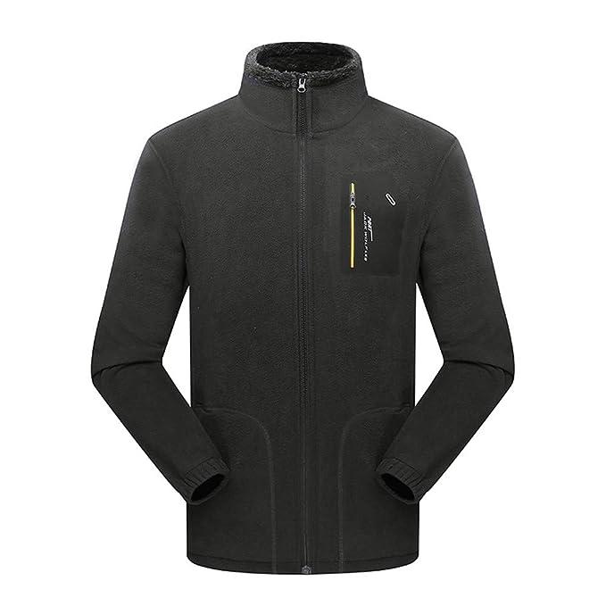 Bestow Hombres otoño Coral Terciopelo Exterior Engrosamiento Invierno Fleece Stand Collar Deporte Abrigo suéter Sudadera Chaleco
