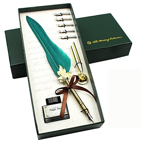 Vintage Feather Quill Pen with Ink Set Antique Feather Calligraphy Writing Drawing Pen with Pen Holder for Kids Friend Birthday Holiday ChristmasGift Set (Green)